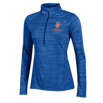 9fb56a3bb39ee3 Women s New York Mets Under Armour Heathered Royal Space Tech 1 2-Zip  Performance Pullover Sweatshirt