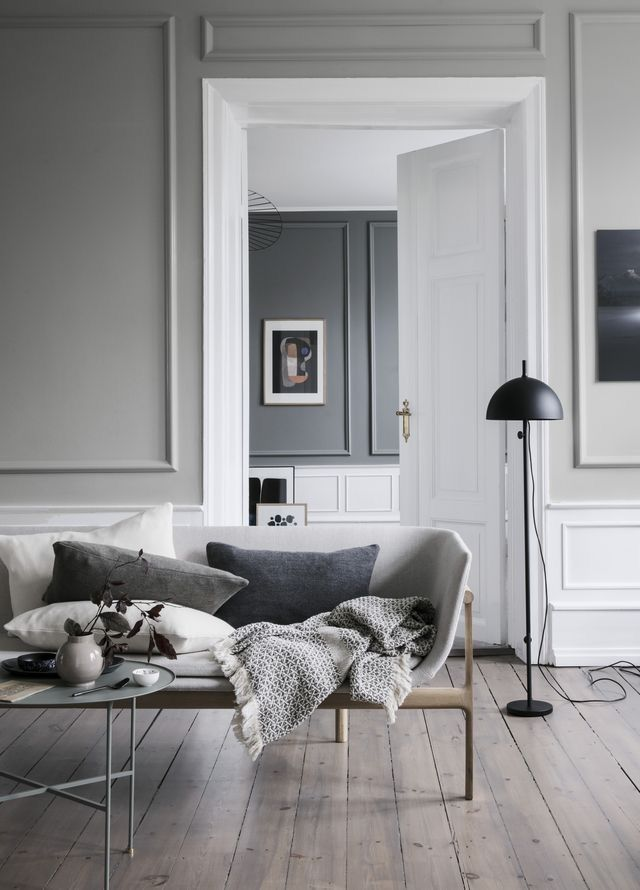 Modernes Skandinavisches Wohnzimmer Sofa Weiß Monochrom Grau Einrichten  Wohnen Dekorieren Wohnideen Wohninspiration Interieur Interior Design