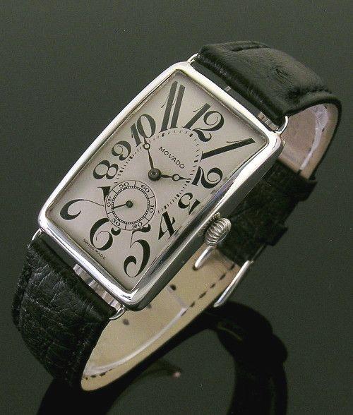 A vintage silver rectangular Movado wristwatch, 1917