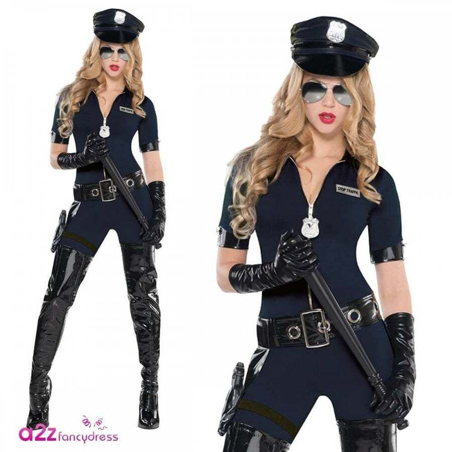 New Ladies Woman Black SWAT Cop Police Uniform Party Fancy Dress Costume Outfit