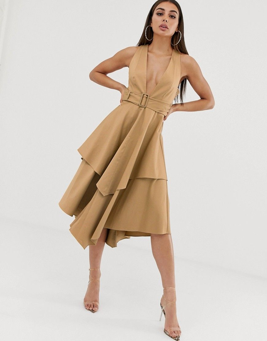 Asos Design Plunge Front Structured Midi Dress With Layered Skirt And Belt Trending Dresses Fall Dress Trends Maxi Dress Prom [ 1110 x 870 Pixel ]
