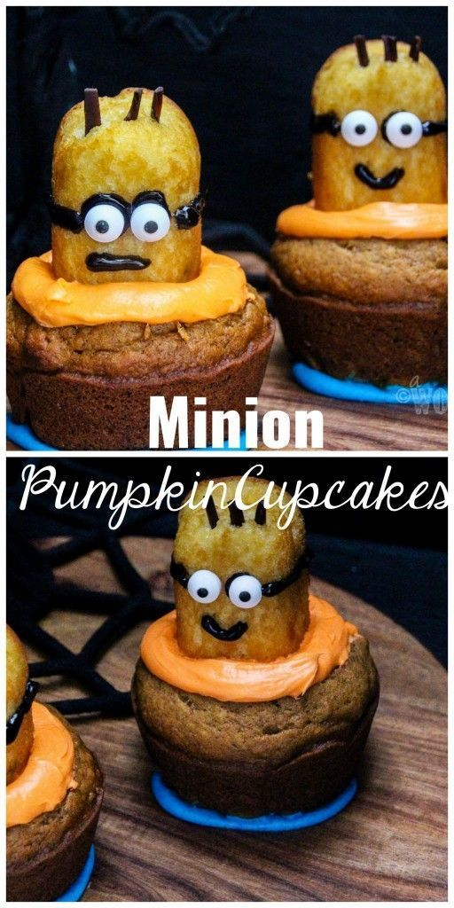 Minion Homemade Pumpkin Cupcakes A healthy Fall flavored twist on the always popular Minion Cupcakes! PERFET for a Fall/Harvest/Halloween Party. Click through for the recipe.. A Worthey Read