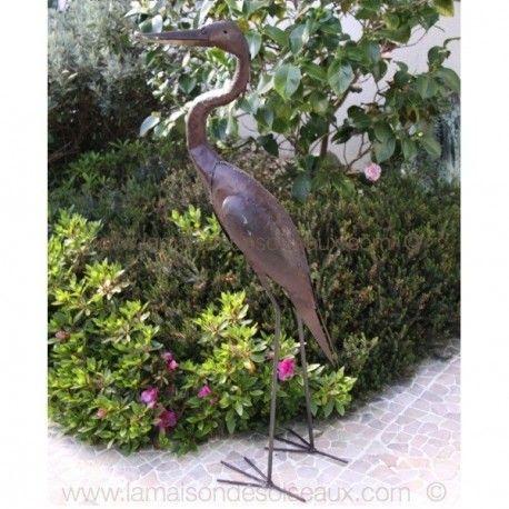 Petit Heron Cendre En Fer Recycle Decoupe Soude Et Vernis Antirouille Dimension Ou 105 Cm De Hauteur Sculpture En Metal Herons Sculpture