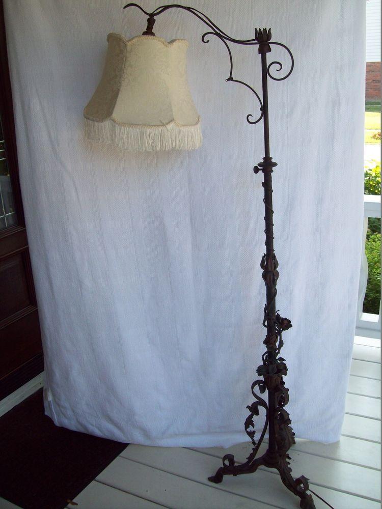 Fabulous! antique wrought iron floor lamp floral / rose / vine ...