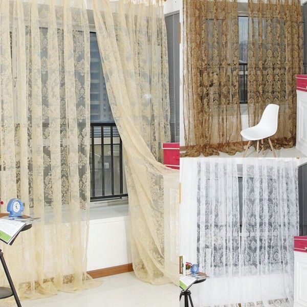 Room Floral Tulle Door Window Curtain Balcony Drape Panel Sheer Scarfs Valances