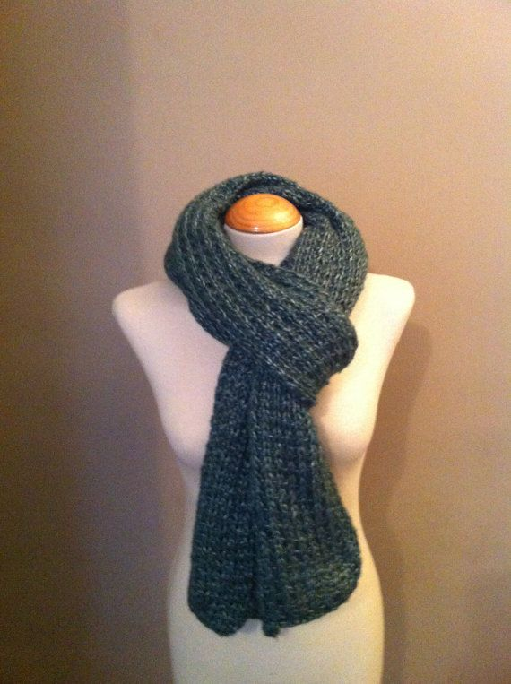 Hand Knitted Luxurious Long Scarf in a fantastic Green on Etsy, £59.99