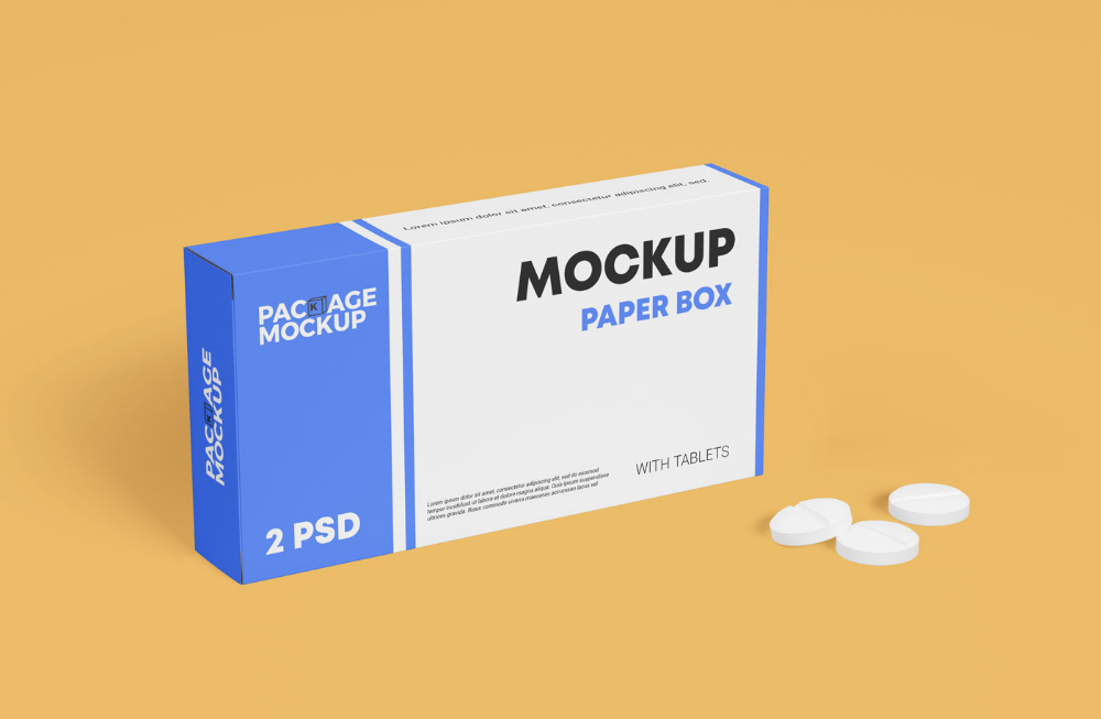 Download Free Medicine Tablet With Packaging Paper Box Mockup Set Free Package Mockups Box Mockup Paper Box Paper