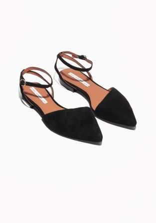 & OTHER STORIES Ankle Strap Suede Ballerinas