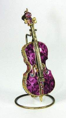 Musical Cello Ornament w/Stand