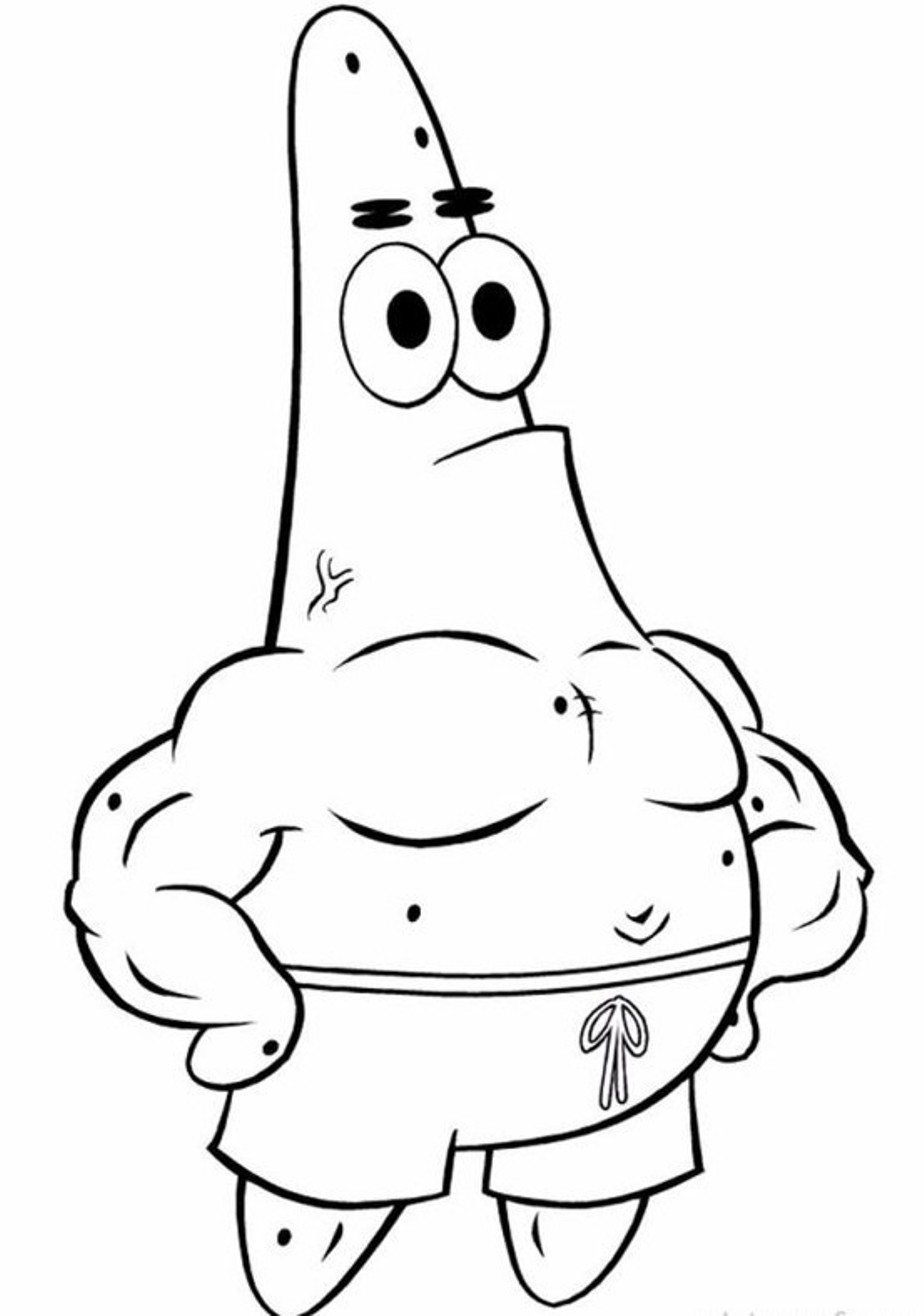 cartoon coloring coloring pages spongebob patrick star coloring pages spongebob patrick starfull size image - Patrick Coloring Pages