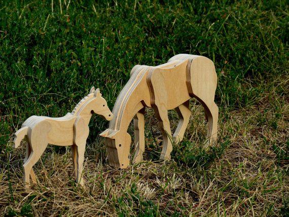 Cavallo Di Legno Giocattolo.Set Di Figurine Di Legno Cavalli In Legno Mare E Cavallo
