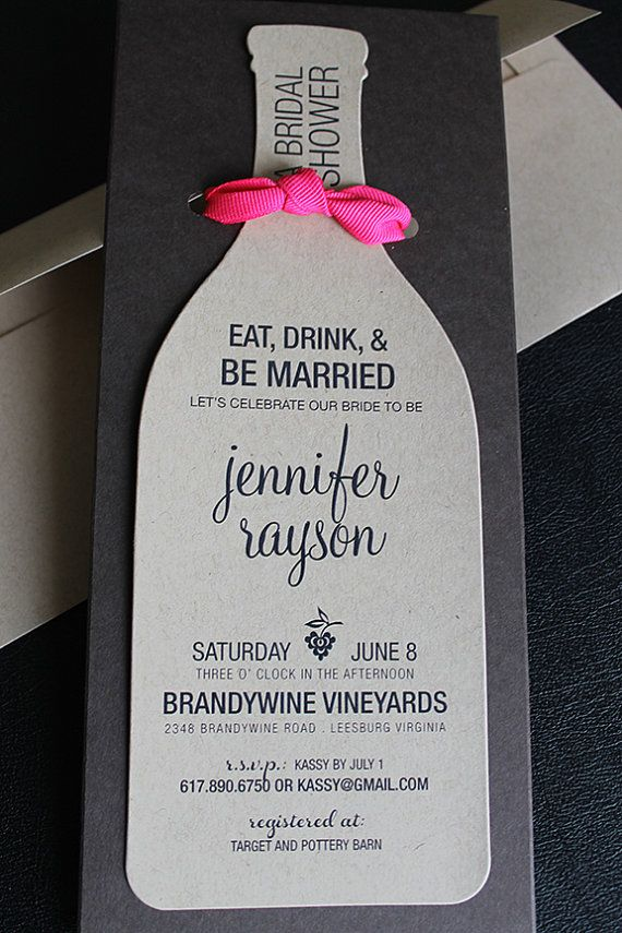 Wine Bottle Bridal Shower Invitation by Diecutslovepaper   Happy ...