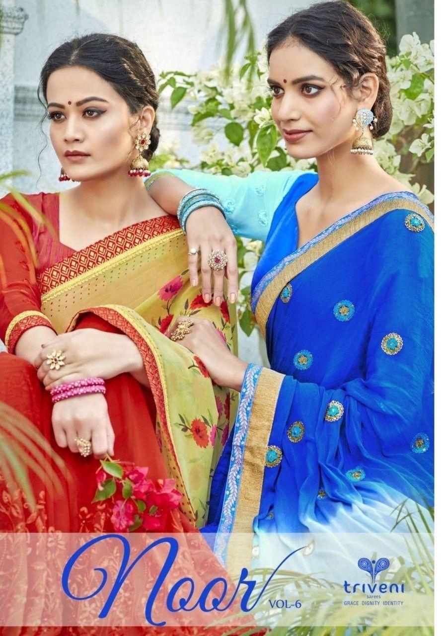 217721e6b9 Triveni Noor Vol 6 Designer embroidered fancy saree latest catalogue in  surat   Kapdavilla: Keeping India's Tradition