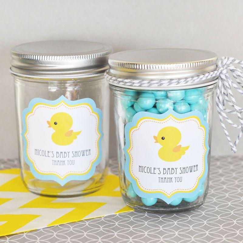 Rubber Ducky Personalized Mini Mason Jars Baby Shower