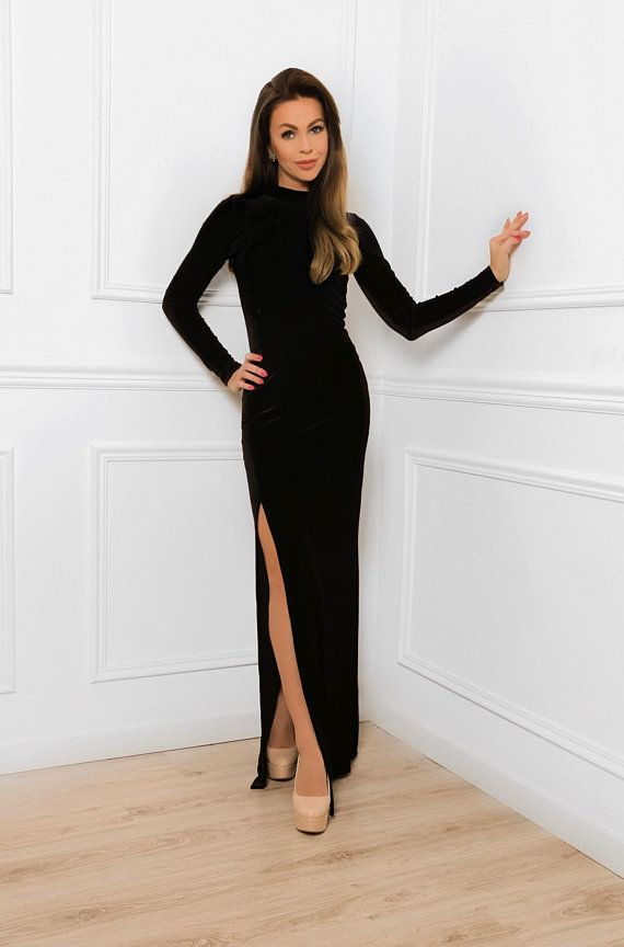 Black Velvet Maxi Bodycon Dress With High Neck Long Sleeves Side