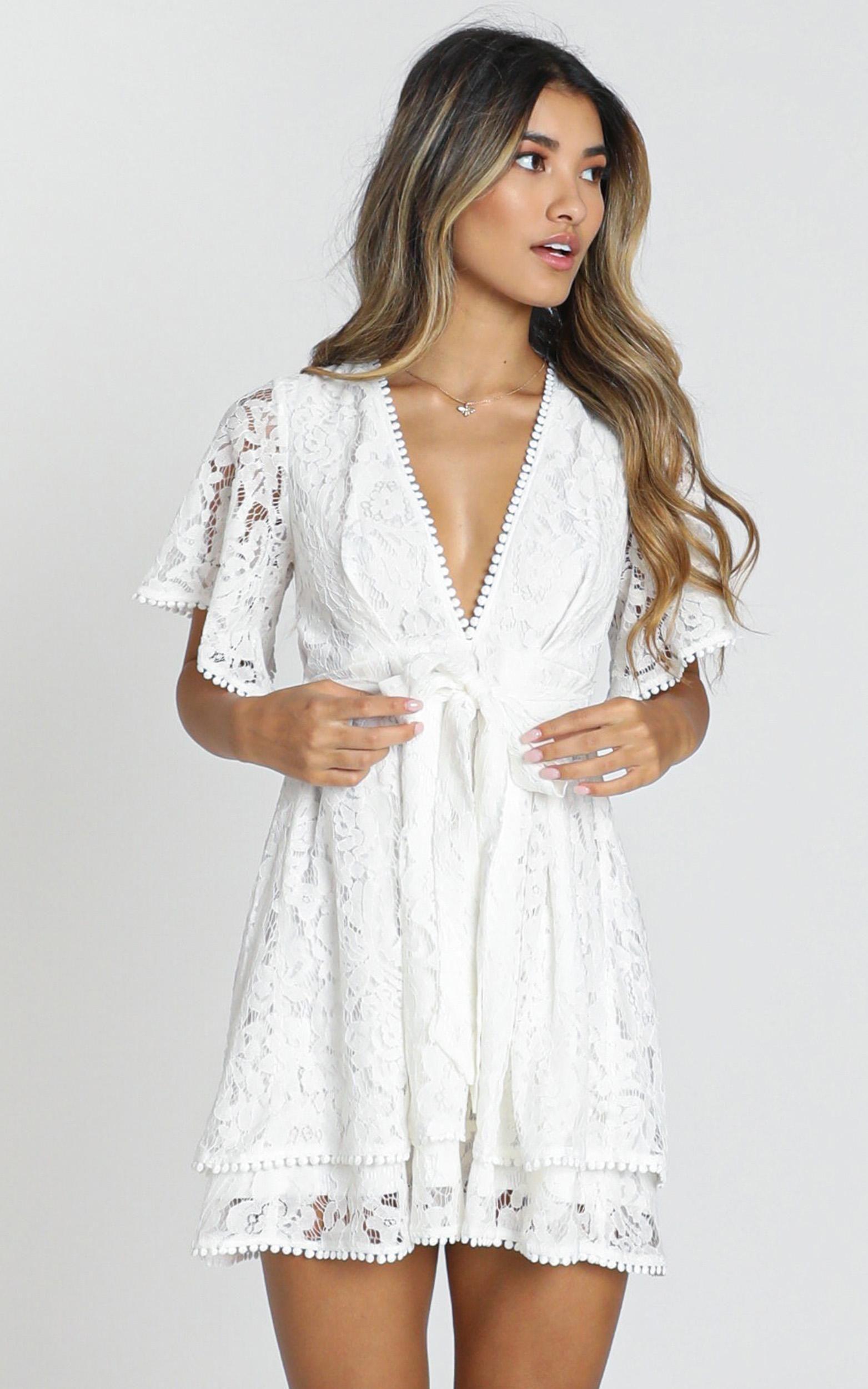 Do You Miss Me Dress In White Lace Showpo White Lace Dress Short White Dresses Graduation Dresses [ 2500 x 1563 Pixel ]