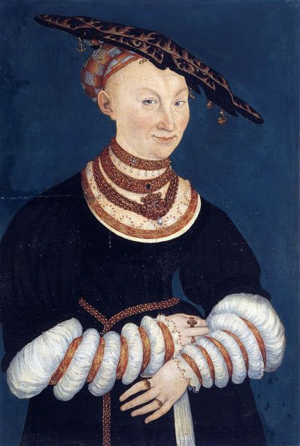 Reinette: German Style from 1468-1588, Katherine of Mecklenburg,Duchess of Saxony  by  Lucas Cranach the Younger,1547