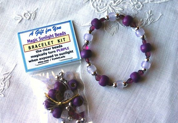 DiY PURPLE Magic Sunlight Bead Stretchy Bracelet Kits with Ultra-Violet Beads,Solar Beads, Jewelry with a SURPRISE, Party Favors
