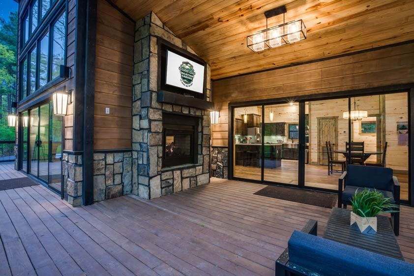 Rustic Hollow Cabin Outdoor Living Space Luxury Cabin Custom Fireplace Cabin Living Room