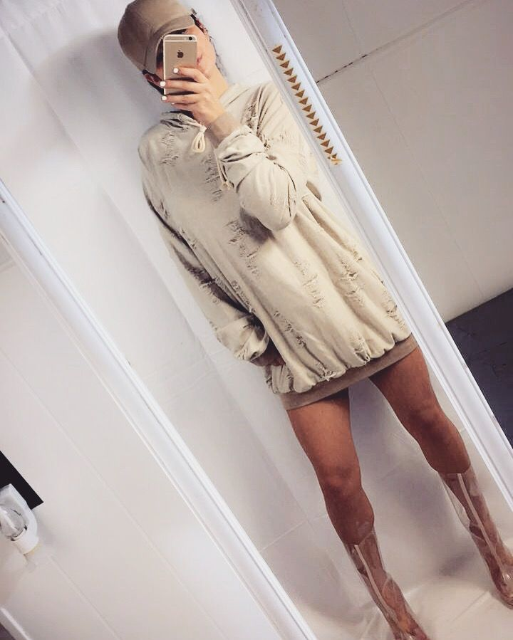 Inspired By Yeezy Season Nude Ripped Hoodie Sweatshirt Dress Clear