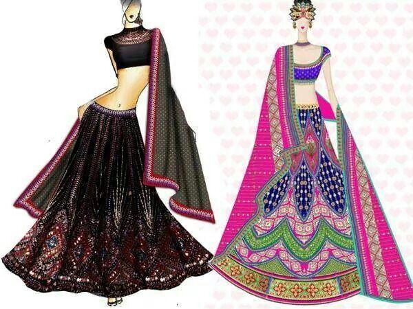 Axing Sketches Lehenga Indian Bride Fashion Fashion Sketches Dresses Fashion Design Sketches