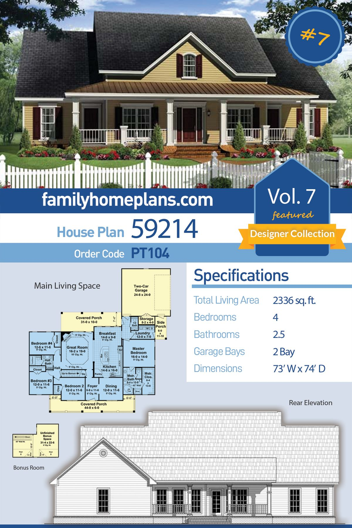 Traditional Style House Plan 59214 With 4 Bed 3 Bath 2 Car Garage With Images Family House Plans House Plans Traditional House Plans