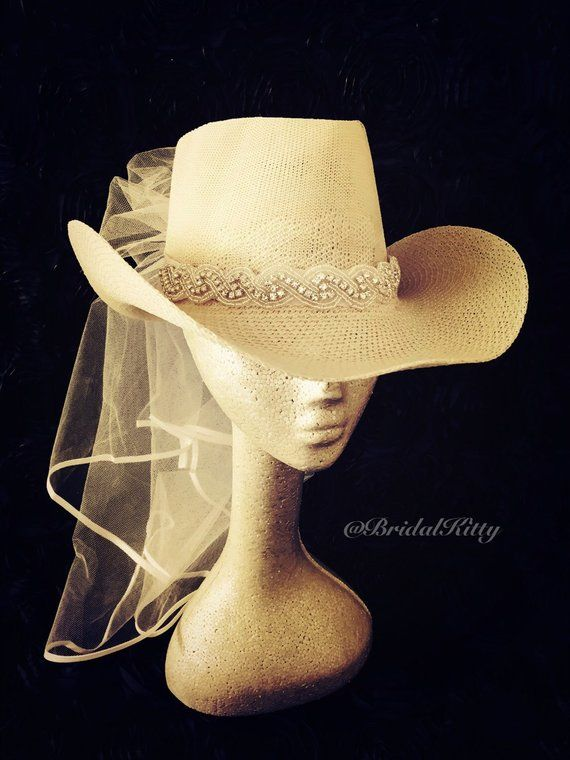 ab6bd78c05255 Country Bachelorette Party Western Cowgirl Hat Veil Crystal Headband Tiara  Crown Bridal Shower White