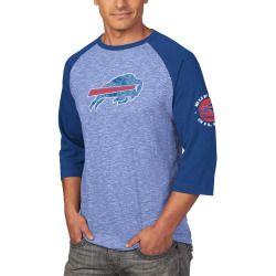 Men's Buffalo Bills Majestic Royal Great Move 3/4-Sleeve Slub Ringer Raglan T-Shirt