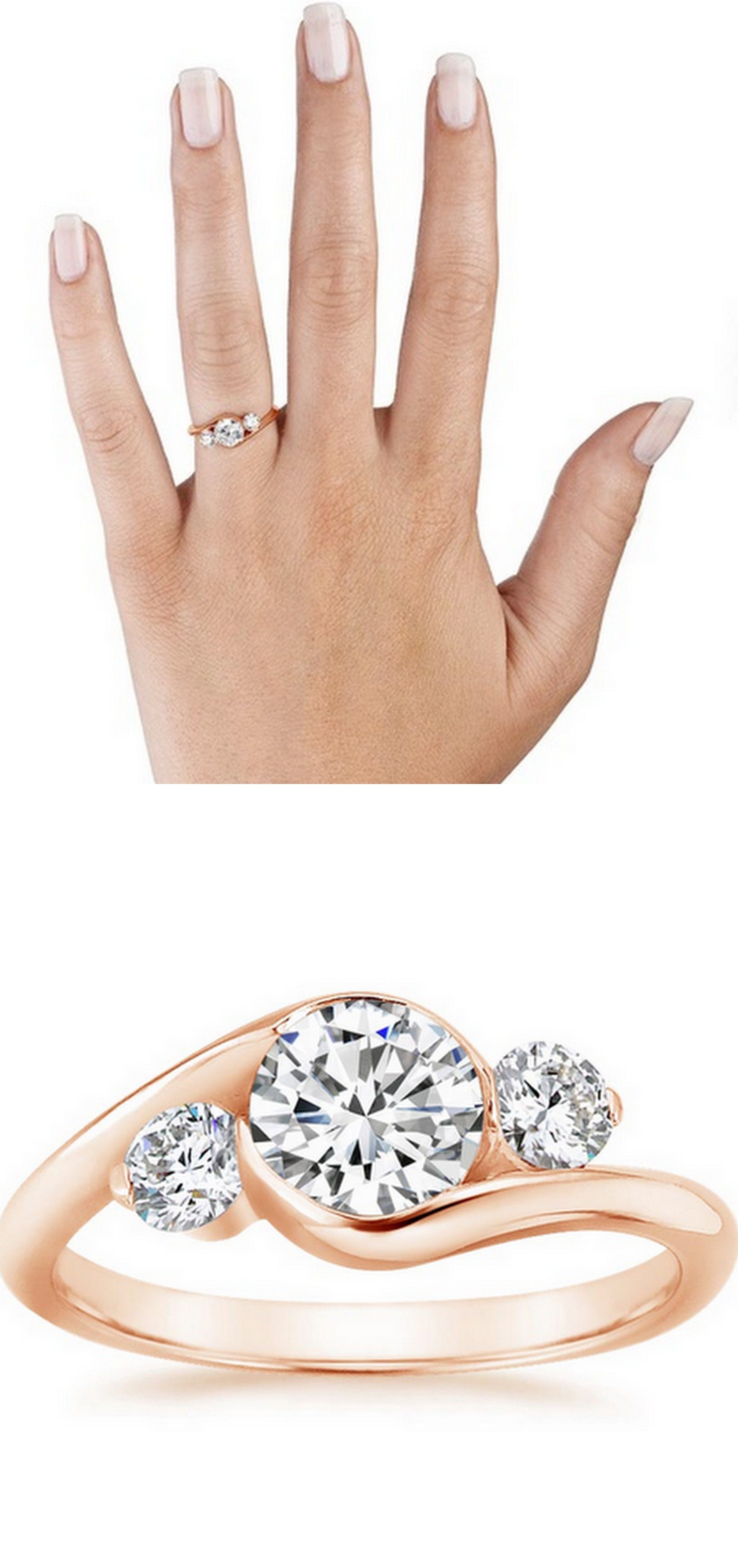 Rose Gold Cascade Three Stone Ring