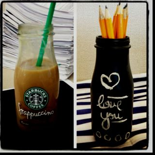 Chalkboard paint + starbucks bottle = cute new pencil holder!!