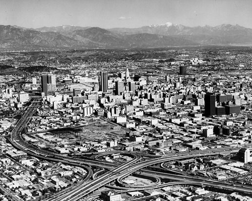 1970 Aerial View Of Downtown Los Angeles Showing The Interchange Of The Santa Monica And Harbor Fr California History Vintage Los Angeles Downtown Los Angeles