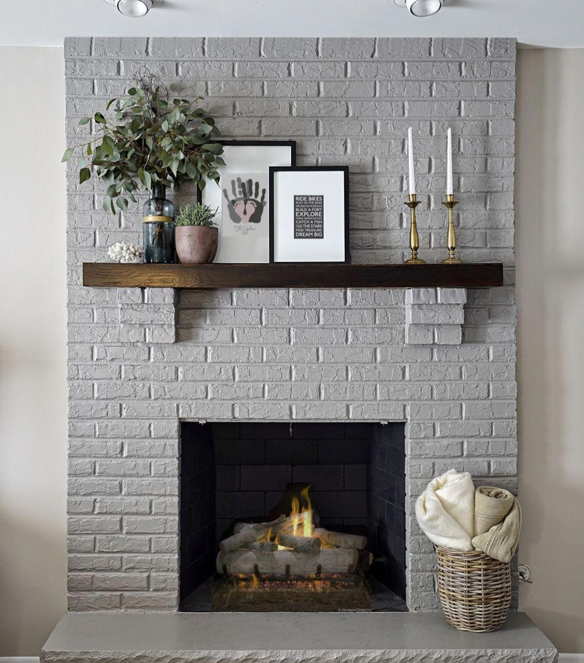 Modern Rustic Painted Brick Fireplaces Ideas 26