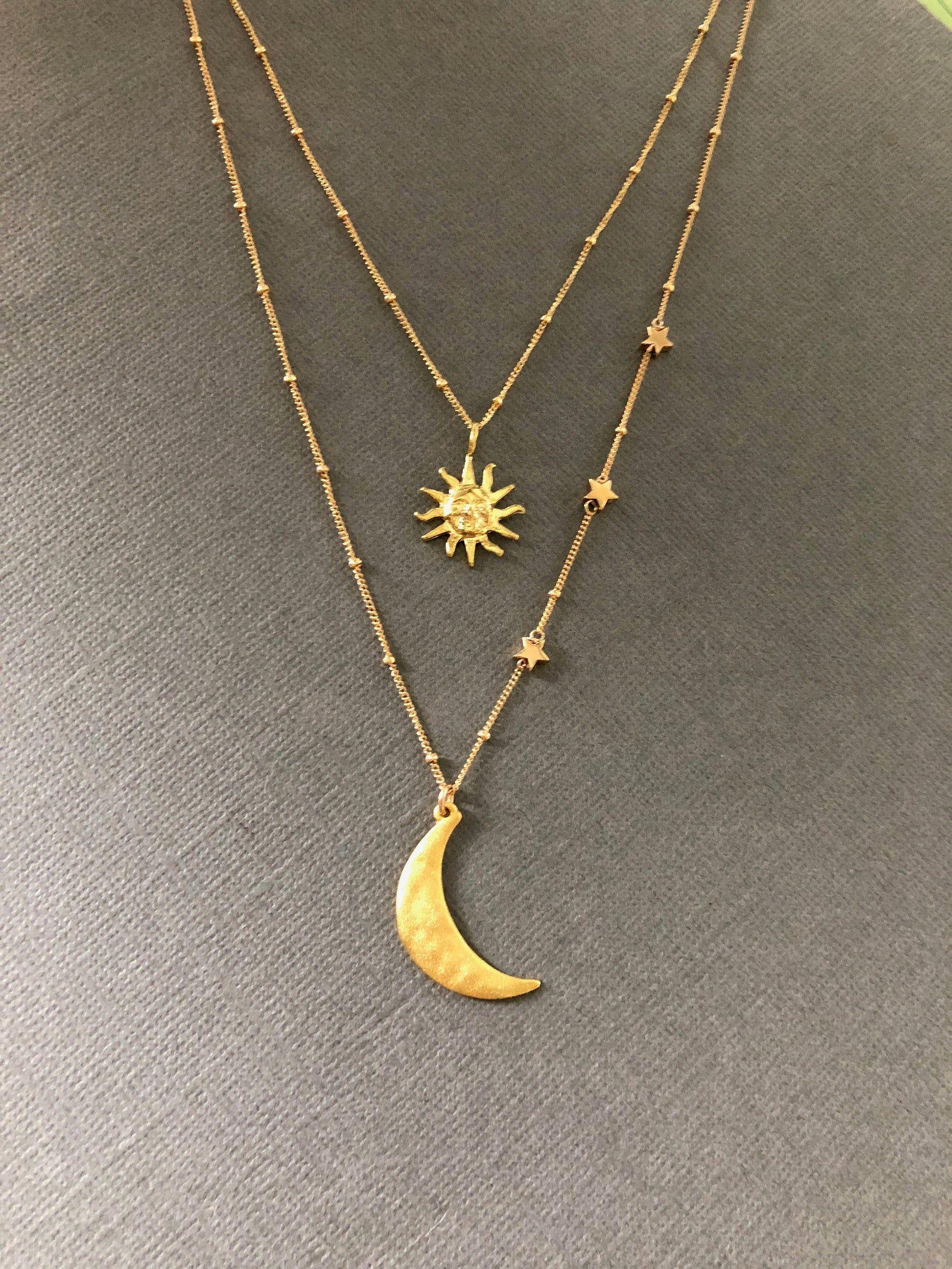 Collar Sol y Luna, Collar Luna y Estrella Vermeil 18k, Te Amo a la Luna, Collar Amistad Sol y Luna, Regalo para BFF, Muse411