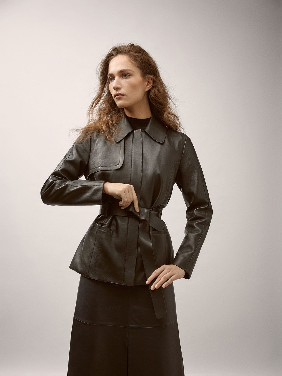 Fall Winter 2017 Women S Nappa Jacket With Belt Detail At Massimo Dutti For 249 Effortless Elegance Jackets Coats Jackets Women Women