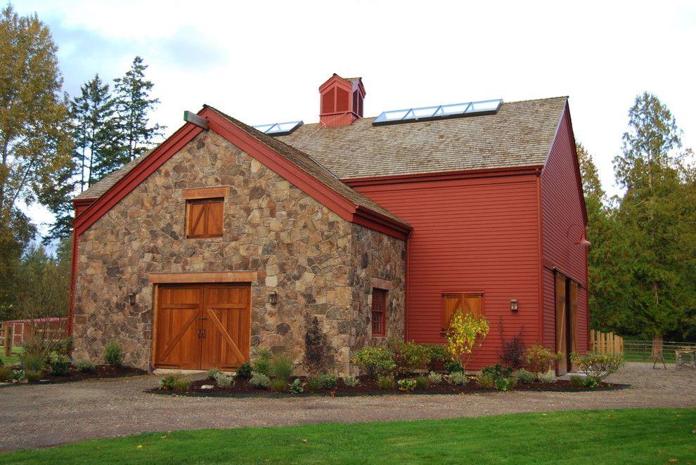 House With Red Barn Barn Barn Doors Cupola Gravel Driveway