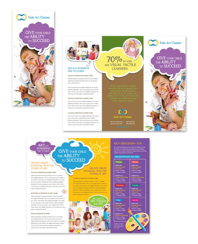 Kids Art Classes Tri Fold Brochure Template HttpWwwDlayoutsCom