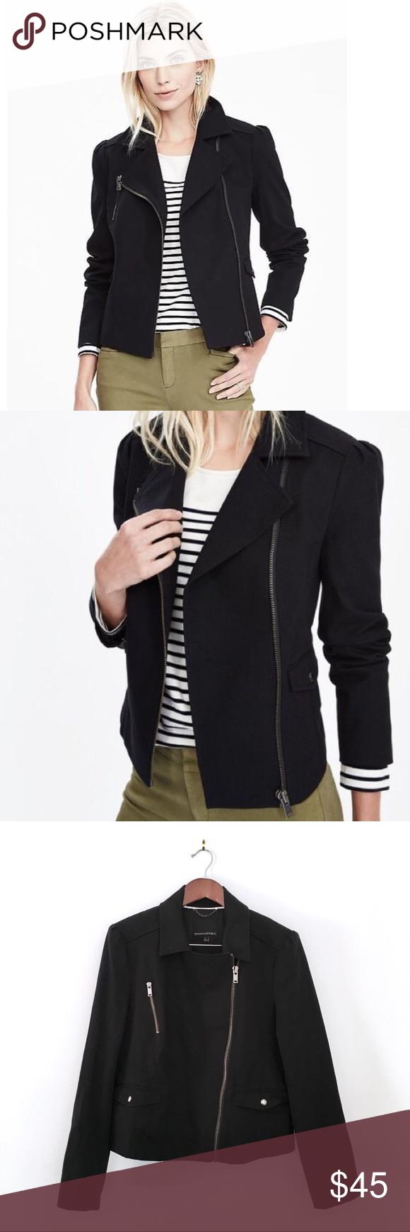 Banana Republic Black Moto Asymmetrical Zip Jacket
