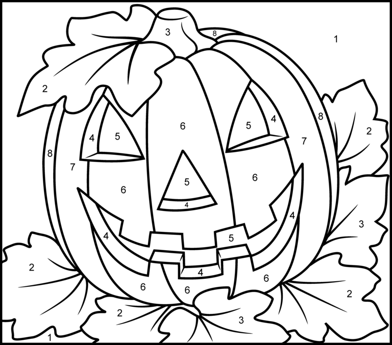 Halloween Pumpkin Printable Color By Number Page Coloriage Magique Coloriage Halloween Coloriage Halloween A Imprimer