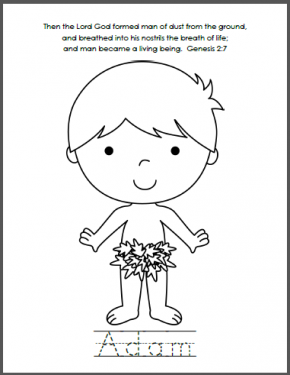 Adam and Eve Bible Coloring Pages | Sunday school, Bible and School