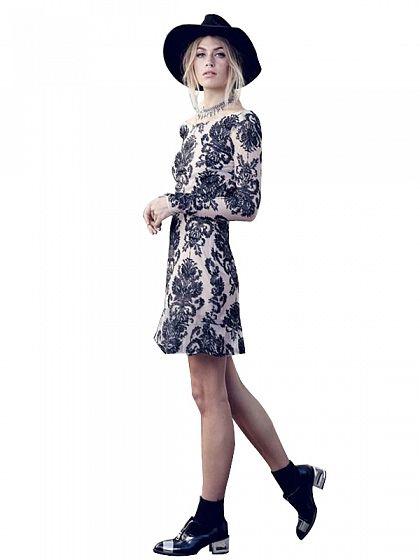 Black Embroidered Backless Floral Dress