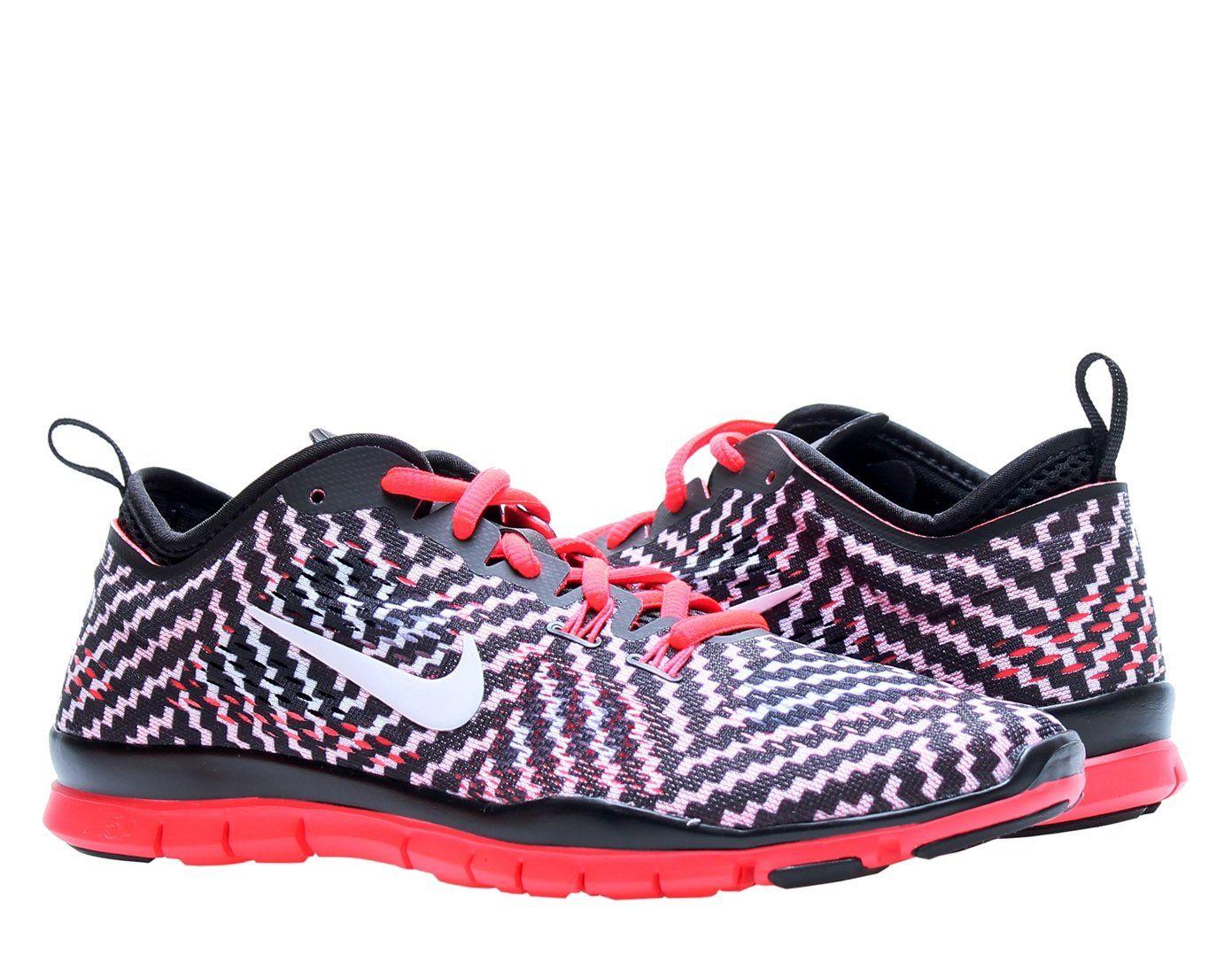 new style 0cbd4 fa780 ... reduced nike womens free 5.0 tr fit 4 print cross training shoes black  white laser 2f516
