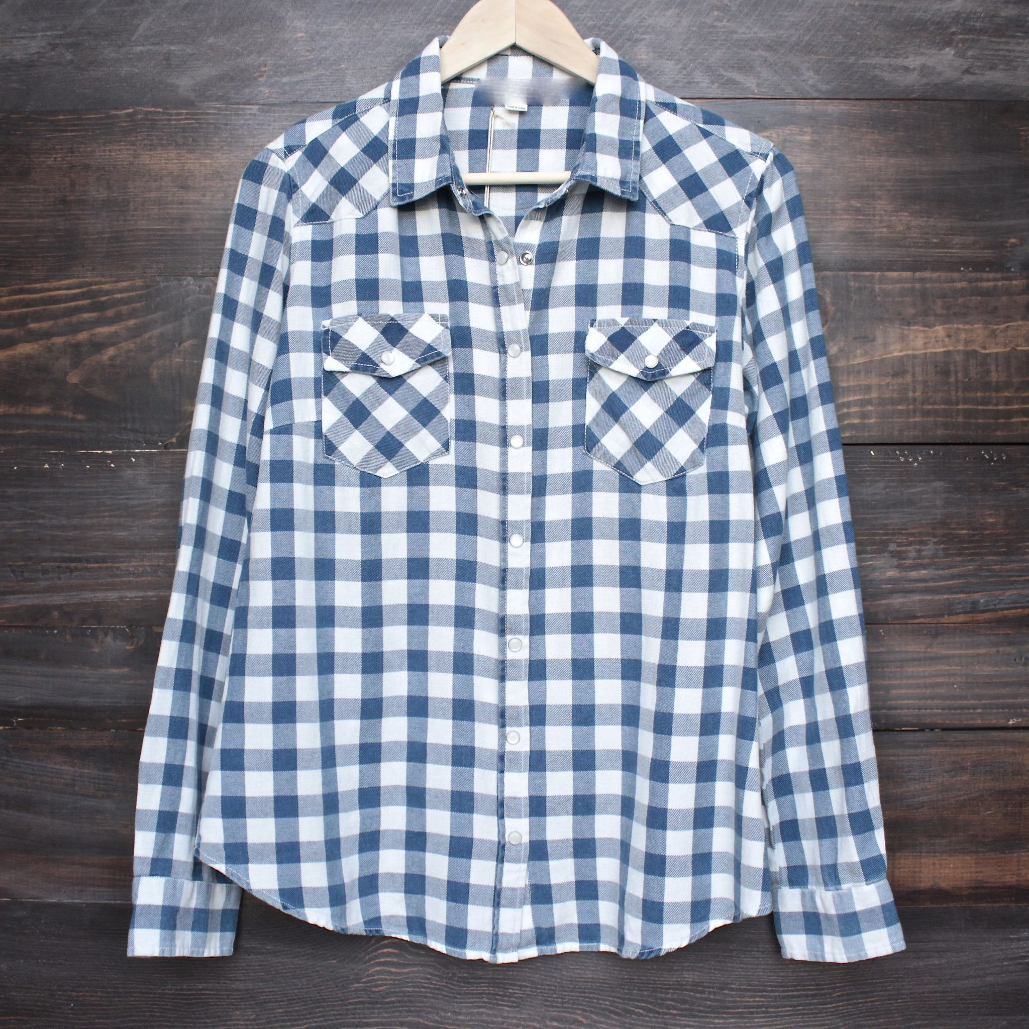 Vintage affair soft button up womens plaid flannel long for Button up flannel shirts