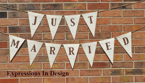 Just Married  Banner  Burlap Banner  by expressionsindesign, $28.50