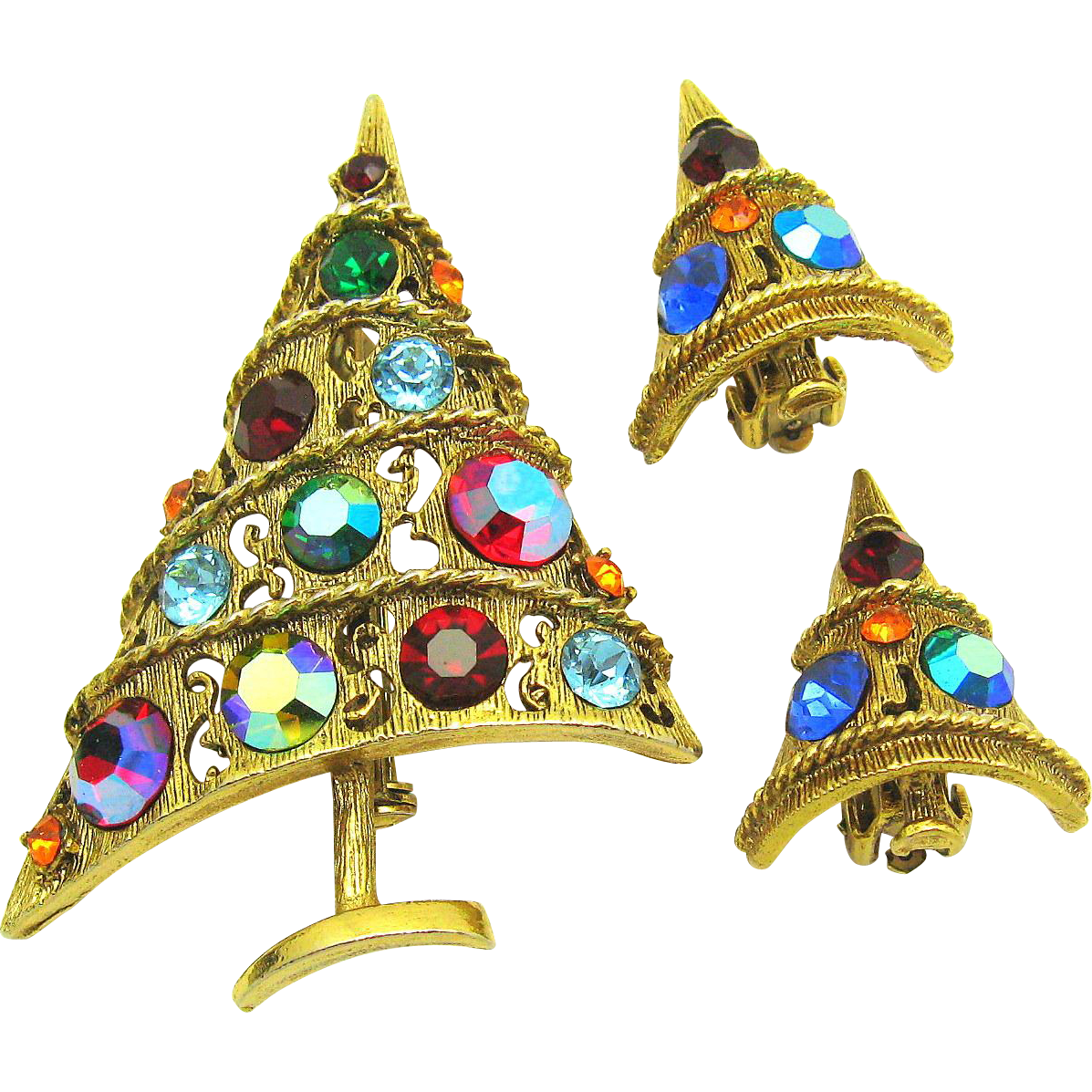 Vintage WEISS Aurora Borealis Rhinestone Christmas Tree Set Brooch Earrings