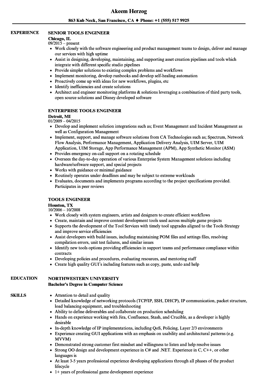 Tools Engineer Resume Samples Velvet Jobs Great Tools