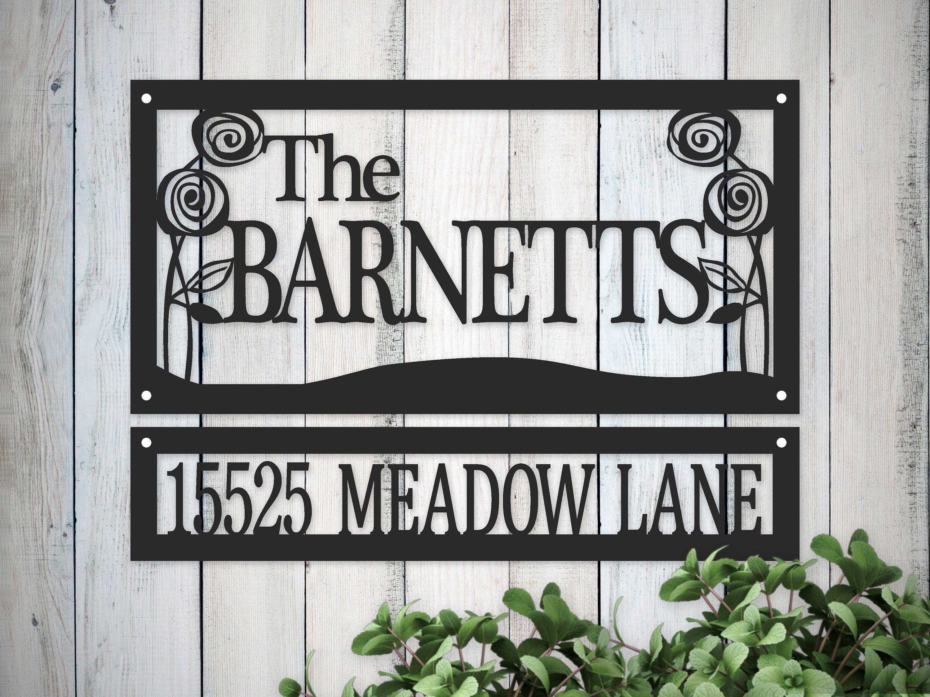 Metal Family Name Sign And Hanging Address Plaque With Roses