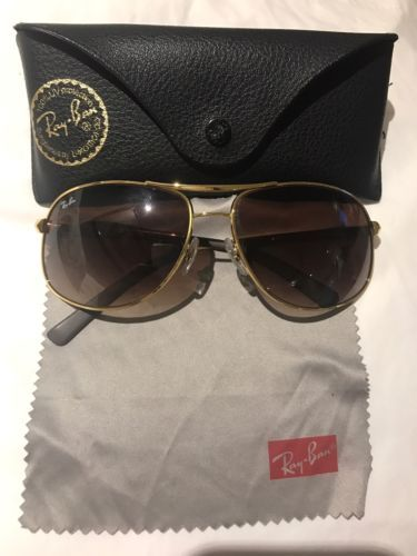 be1fd8c49f12 AUTHENTIC Ray Ban AVIATOR GOLD 64mm w Brown Bronze Gradient Sunglass RB 3387