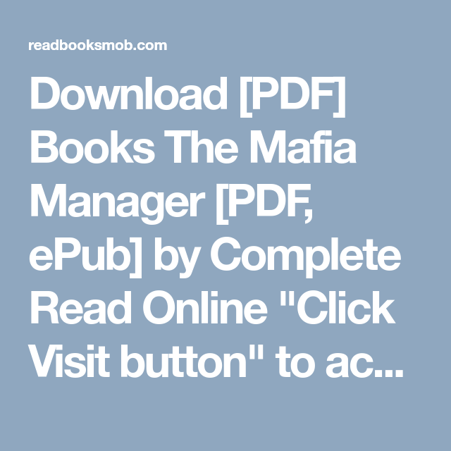 download pdf books the mafia manager pdf epub by complete read