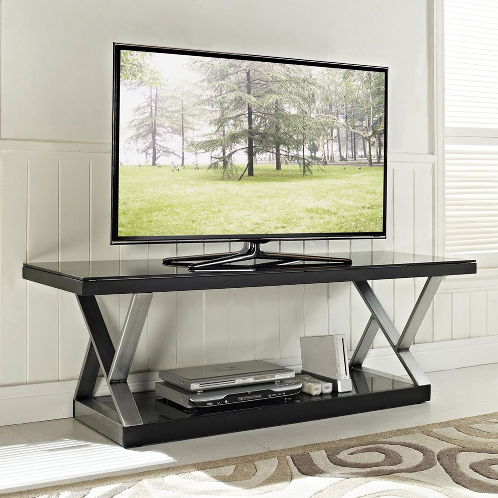 Industrial Black Glass 60 Inch Tv Stand Overstockcom Living