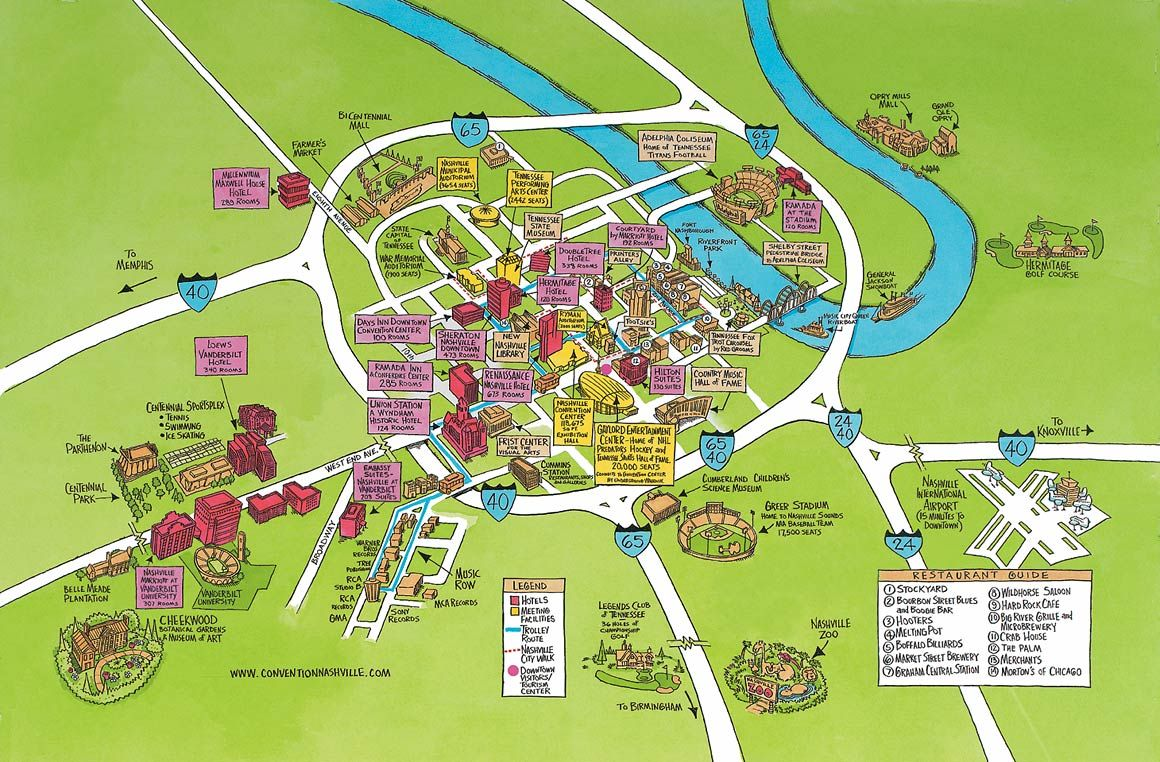 Nashville Tennessee Attractions Tn Tourist Map Mappery